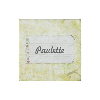 Floral Stapled Note Paper Bright Background Stone Magnet