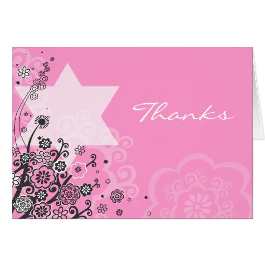 Floral Star Jewish Baby Naming Thank You Card