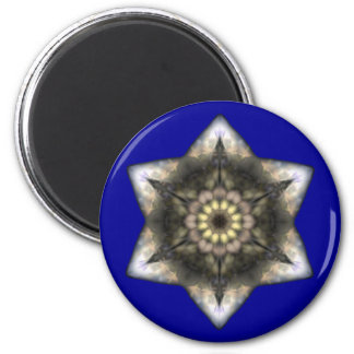 Floral Star of David 6 Cm Round Magnet