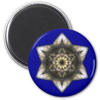 Floral Star of David 6 Cm Round Magnet