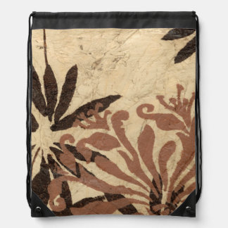 Floral Stencil Design with Tawny Leaves Drawstring Bag