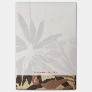 Floral Stencil Design with Tawny Leaves Post-it Notes