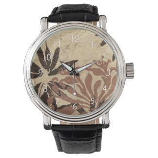 Floral Stencil Design with Tawny Leaves Watch