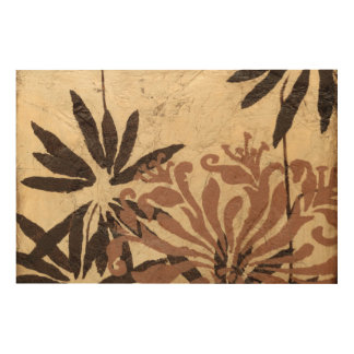 Floral Stencil Design with Tawny Leaves Wood Print