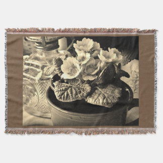 Floral Still-life in Sepia Throw Blanket