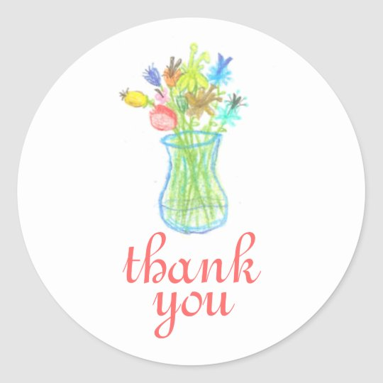 Floral still life thank you sticker
