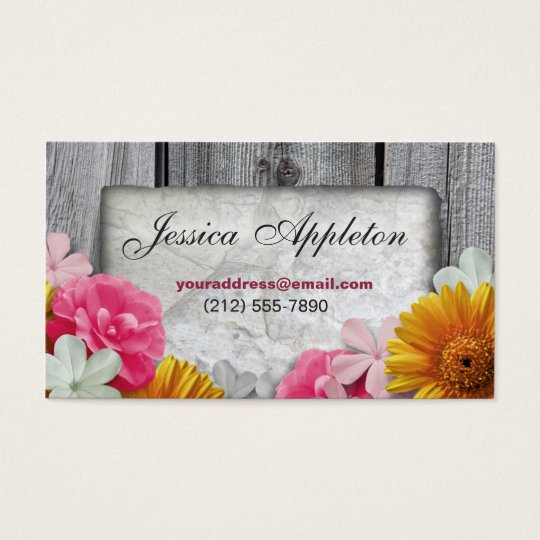 Floral Stone & Rustic Wood Personal Calling Cards