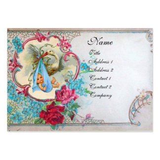 FLORAL STORK BABY SHOWER WITH ROSES MONOGRAM BUSINESS CARDS