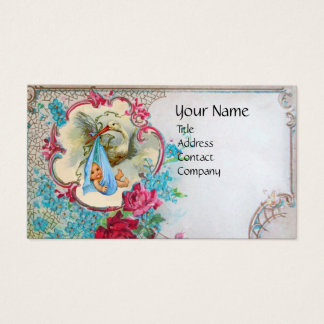 FLORAL STORK BABY SHOWER WITH ROSES MONOGRAM BUSINESS CARD