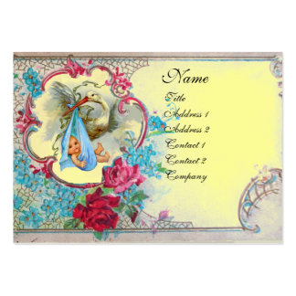 FLORAL STORK BABY SHOWER WITH ROSES MONOGRAM PACK OF CHUBBY BUSINESS CARDS