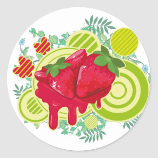 Floral Strawberries Classic Round Sticker
