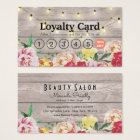 Floral String Lights Rustic Wood Salon Loyalty Business Card