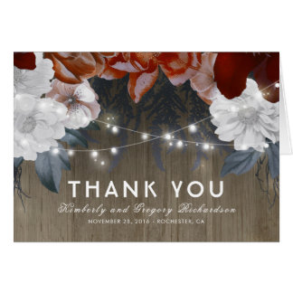Floral String Lights Rustic Wood Wedding Thank You Card