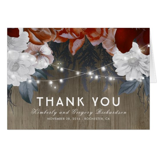 Floral String Lights Rustic Wood Wedding Thank You