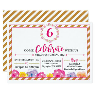 Floral Striped Girly Birthday Party Invitation