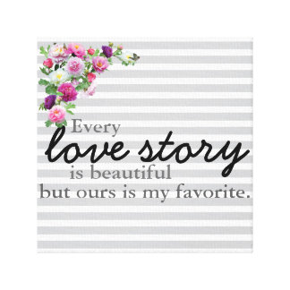 Floral Striped Love Story Canvas Print