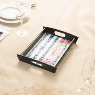 Floral stripes and confetti wedding design serving tray