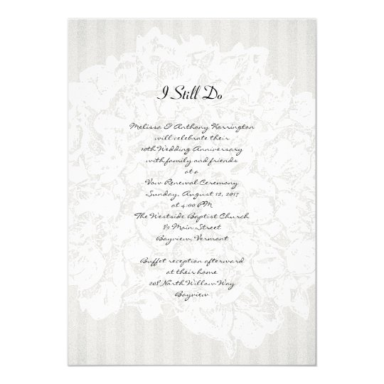 Floral Stripes Black and White Anniversary Party Card