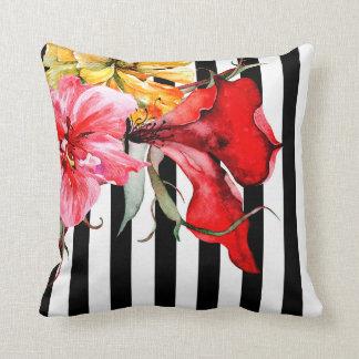 Floral Stripes - Flora Botanica | black and white Throw Pillow
