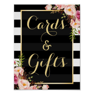 Floral Stripes Gold   Cards and Gifts Wedding Sign Poster