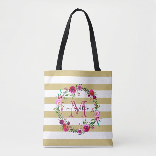 Floral & Stripes Monogram | Tote