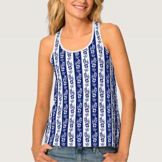 Floral stripes pattern tank top