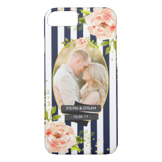 Floral Stripes With Gold Foil Wedding Custom Photo iPhone 8/7 Case