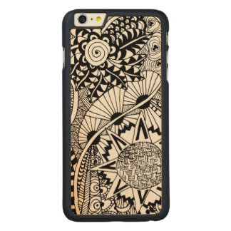 Floral Style Doodle Carved Maple iPhone 6 Plus Case