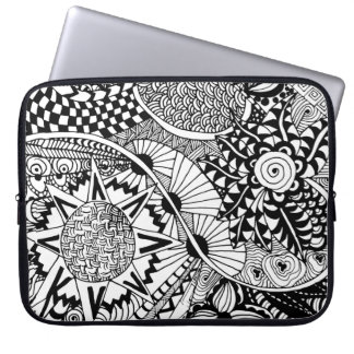 Floral Style Doodle Laptop Sleeve