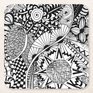 Floral Style Doodle Square Paper Coaster