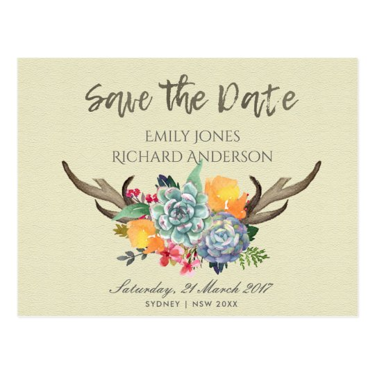 FLORAL SUCCULENT ANTLER BOHEMIAN SAVE THE DATE POSTCARD