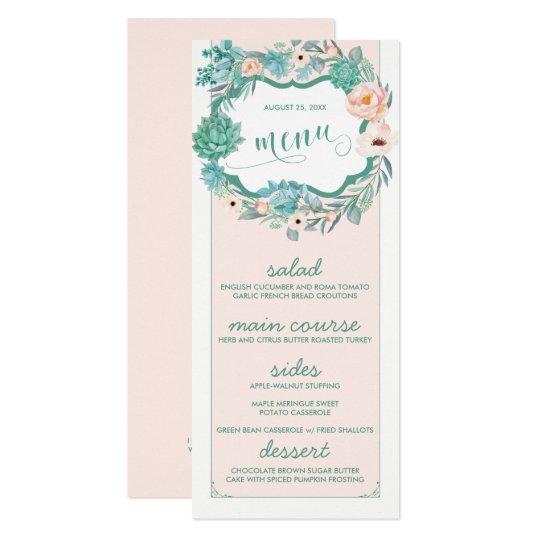 Floral Succulent & Blush Wedding Menu Cards
