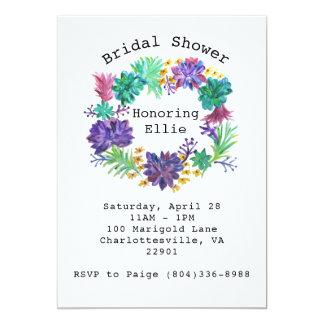 Floral & Succulent Wreath Bridal Shower Invite