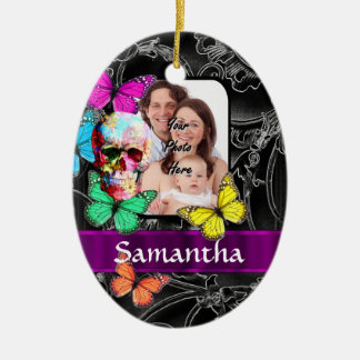 Floral sugar skull and butterflies ceramic oval decoration