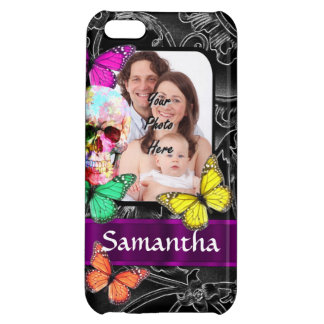 Floral sugar skull and butterflies iPhone 5C case