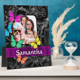 Floral sugar skull and butterflies plaque
