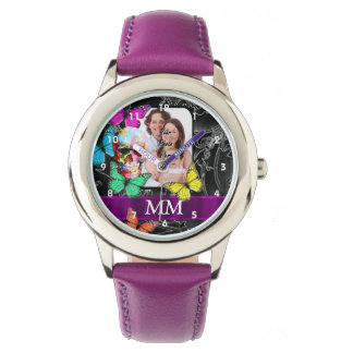 Floral sugar skull, butterflies and monogram watch