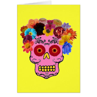 Floral Sugar Skull Stationery Note Card