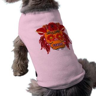 Floral Sugar Skull Doggie T-shirt