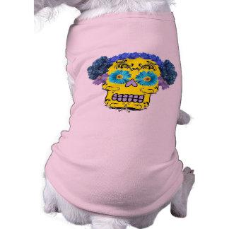 Floral Sugar Skull Doggie T Shirt