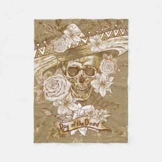 Floral Sugar Skull Fleece Blanket