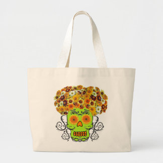 Floral Sugar Skull Large Tote Bag