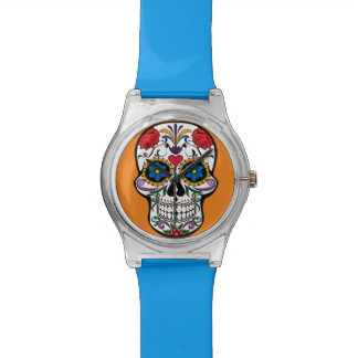 Floral Sugar Skull Orange Wristwatches