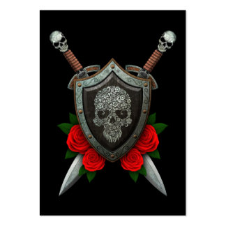 Floral Sugar Skull Shield and Swords with Roses Large Business Cards (Pack Of 100)