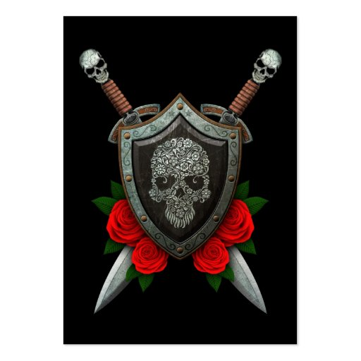 Floral Sugar Skull Shield and Swords with Roses Business Card Templates