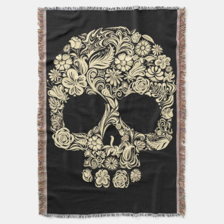 Floral Sugar Skull Throw Blanket
