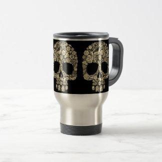 Floral Sugar Skull Travel Mug
