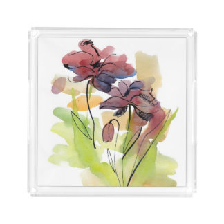 Floral summer design with hand-painted abstract 2 acrylic tray