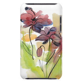 Floral summer design with hand-painted abstract 2 barely there iPod covers