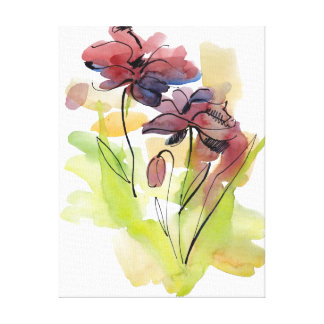 Floral summer design with hand-painted abstract 2 canvas prints